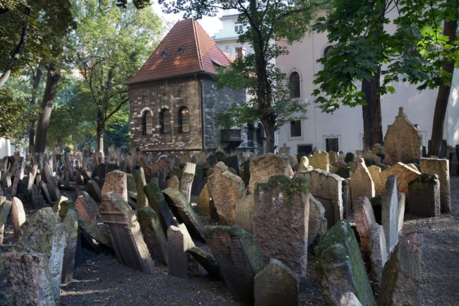 The Old Jewish Cemetary in Josefov, which is a town quarter of Prague, formerly the Jewish ghetto of the town. It is completely surrounded by Old Town.